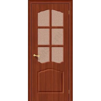 Межкомнатная дверь с ПВХ-пленкой Лидия ПО, итальянский орех BRAVO Цвет: Итальянский орех Остекленная (Товар №  ZF1060)