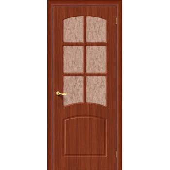 Межкомнатная дверь с ПВХ-пленкой Кэролл ПО, итальянский орех BRAVO Цвет: Итальянский орех Остекленная (Товар №  ZF1067)