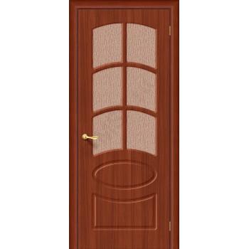 Межкомнатная дверь с ПВХ-пленкой Неаполь ПО, итальянский орех BRAVO Цвет: Итальянский орех Остекленная (Товар №  ZF1070)
