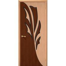 Межкомнатная шпонированная дверь Дуэт ПГ дуб/орех файн-лайн BRAVO Цвет: Дуб файн-лайн Глухая (Товар №  ZF1111)