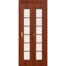 Межкомнатная дверь гармошка серии Legno 2С в цвете Л-11 (ИталОрех) остекленная. (Товар № ZF47299)