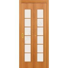 Межкомнатная дверь гармошка серии Legno 2С в цвете Л-12 (МиланОрех) остекленная. (Товар № ZF47303)