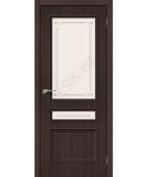Межкомнатная дверь экошпон Симпл-15.2 в цвете Wenge Veralinga остекленная (Товар № ZF47043)