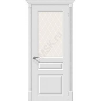 Дверь эмаль Скинни-15.1 в цвете Whitey остекленная (Товар № ZF202)