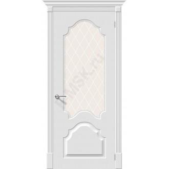 Дверь эмаль Скинни-33 в цвете Whitey остекленная (Товар № ZF210)