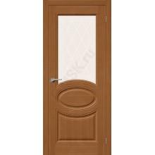 Дверь шпонированная Статус-21 в цвете Ф-11 (Орех) остекленная (Товар № ZA55658)