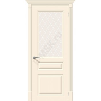 Дверь эмаль Скинни-15.1 в цвете Cream остекленная (Товар № ZA55622)
