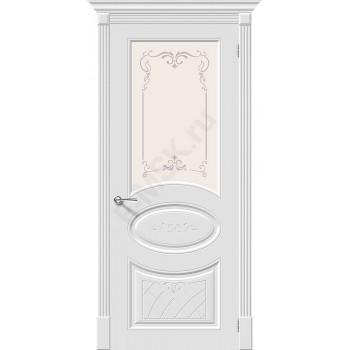 Дверь эмаль Скинни-21 Аrt в цвете Whitey остекленная (Товар № ZA55644)