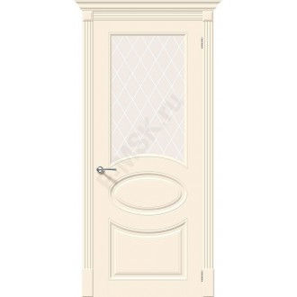 Дверь эмаль Скинни-21 в цвете Cream остекленная (Товар № ZA55624)