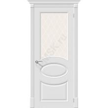 Дверь эмаль Скинни-21 в цвете Whitey остекленная (Товар № ZA55625)
