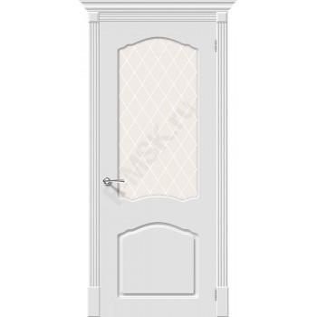 Дверь эмаль Скинни-31 в цвете Whitey остекленная (Товар № ZA55628)
