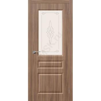 Дверь ПВХ Скинни-15 в цвете П-35 (Шимо Темный) остекленная. (Товар № ZF128)