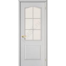 Дверь строительная Классик в цвете Белый Грунт остекленная. (Товар № ZF18)