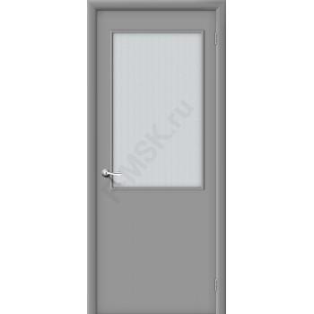Дверь строительная Гост ПО-2 в цвете Л-16 (Серый) остекленная. (Товар № ZF4)