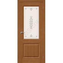 Дверь шпонированная Статус-13 в цвете Ф-11 (Орех) остекленная (Товар № ZF92)