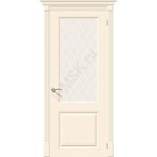Дверь эмаль Скинни-13 в цвете Cream остекленная (Товар № ZF72)