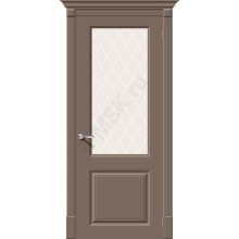 Дверь эмаль Скинни-13 в цвете Mocca остекленная (Товар № ZF76)