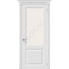 Дверь эмаль Скинни-13 в цвете Whitey остекленная (Товар № ZF68)