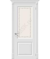 Дверь эмаль Скинни-13 Аrt в цвете Whitey остекленная (Товар № ZF104)