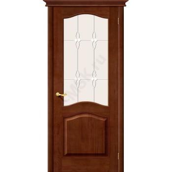 Межкомнатная дверь из Массива М7 ПО темный лак Белорусские двери Цвет: Темный лак Остекленная (Товар №  ZF1205)