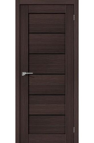 Дверь экошпон Серия Porta X Порта-22 в цвете Wenge Veralinga/Black Star остекленная (Товар № ZF58970)