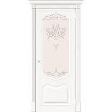 Дверь межкомнатная шпонированная (шпон натуральный) Вуд Классик-53 Whitey остекленная (Товар № ZF193415)