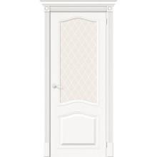 Дверь межкомнатная шпонированная (шпон натуральный) Вуд Классик-55 Whitey остекленная (Товар № ZF193417)