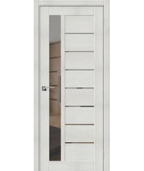 Дверь межкомнатная Эко Шпон Порта-27 Bianco Veralinga зеркало Mirox Grey (Товар № ZF193447)