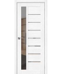 Дверь межкомнатная Эко Шпон Порта-27 Snow Veralinga зеркало Mirox Grey (Товар № ZF193446)