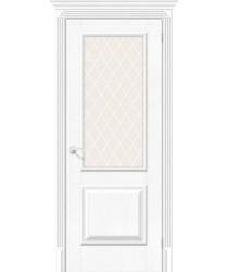 Дверь экошпон Классико-13 в цвете White Softwood остекленная