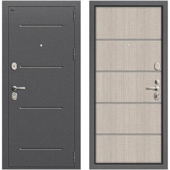 Дверь стальная Т2-204 New в цвете Антик Серебро/Cappuccino Crosscut.