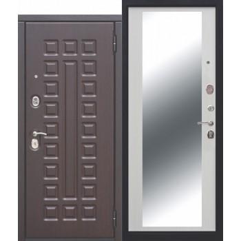 Входная металлическая дверь Феррони Монарх Зеркало в цвете Венге / Белый ясень |Полотно 10 см, Металл 1.4 мм, Вес 92 кг (Товар № ZF111515)