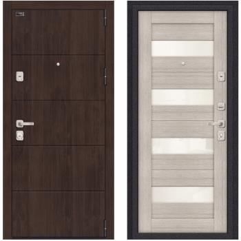 Входная металлическая дверь Браво Porta M 4.П23 в цвете Almon 28 / Cappuccino Veralinga |Полотно 98 мм, Металл 1.2 мм, Вес 101 кг