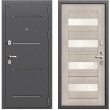 Дверь стальная Т2-223 New в цвете Антик Серебро/Cappuccino Veralinga остекленная.
