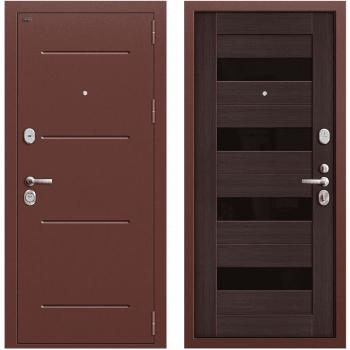 Дверь стальная Т2-223 New в цвете Антик Медь/Wenge Veralinga остекленная.