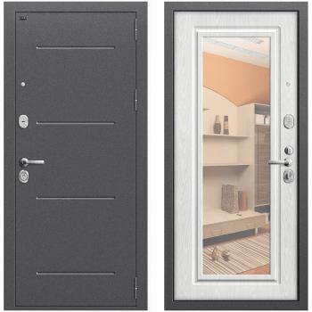 Входная металлическая дверь Браво Р2-216 в цвете Антик Серебро / П-25 (Беленый Дуб) с зеркалом |Полотно 96 мм, Металл 1.5 мм, Вес 78 кг