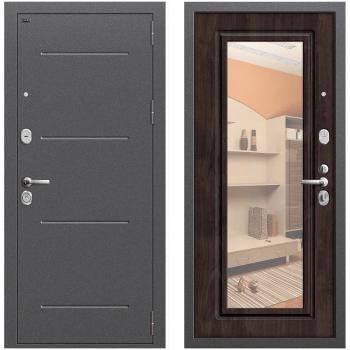 Входная металлическая дверь Браво Р2-216 в цвете Антик Серебро/П-28 (Темная Вишня) с зеркалом |Полотно 96 мм, Металл 1.5 мм, Вес 78 кг