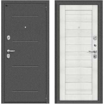 Дверь стальная Porta S 104.П22 в цвете Антик Серебро/Bianco Veralinga остекленная.