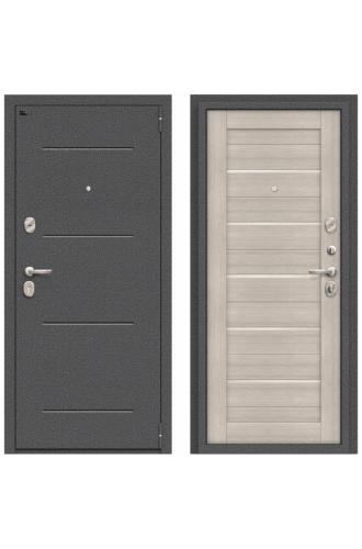 Дверь стальная Porta S 104.П22 в цвете Антик Серебро/Cappuccino Veralinga остекленная.