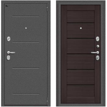 Дверь стальная Porta S 104.П22 в цвете Антик Серебро/Wenge Veralinga остекленная.