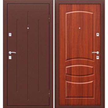 Входная металлическая дверь Браво Стройгост 7-2 в цвете Антик Медь / М-11 (ИталОрех) |Полотно 66 мм, Металл 1 мм, Вес 35 кг (Товар №  ZF38453)