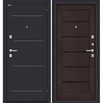 Входная металлическая дверь Браво Техно в цвете Wenge Veralinga/Black Star остекленная. (Товар № ZF78)