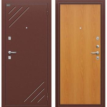 Входная металлическая дверь Браво Стандарт в цвете Антик Медь / М-12 (МиланОрех) |Полотно 66 мм, Металл 1.5 мм, Вес 51 кг (Товар № ZA55666)