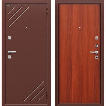 Входная металлическая дверь Браво Стандарт в цвете Антик Медь / М-11 (ИталОрех) |Полотно 66 мм, Металл 1.5 мм, Вес 51 кг (Товар № ZA55664)