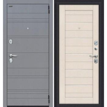 Дверь стальная Сканди в цвете П-37 (Graphite Wood)/Cappuccino Softwood остекленная. (Товар № ZF59021)