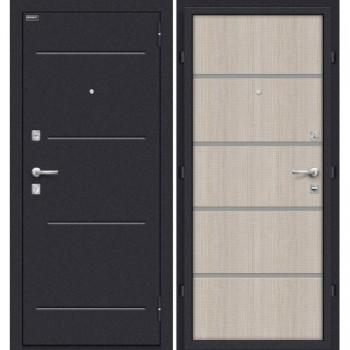 Входная металлическая дверь Браво Лайн в цвете Лунный камень / Cappuccino Crosscut |Полотно 66 мм, Металл 1.5 мм, Вес 54 кг  (Товар №  ZF20120)