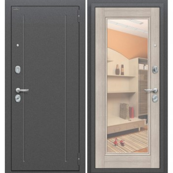Входная металлическая дверь Браво Флэш в цвете Антик Серебро / Cappuccino Veralinga, с зеркалом |Полотно 85 мм, Металл 1.5 мм, Вес 68 кг (Товар № ZF58977)