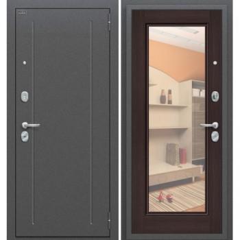Входная металлическая дверь Браво Флэш в цвете Антик Серебро / Wenge Veralinga, с зеркалом |Полотно 85 мм, Металл 1.5 мм, Вес 68 кг (Товар № ZF58986)