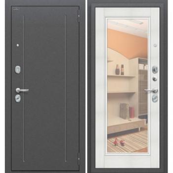 Входная металлическая дверь Браво Флэш в цвете Антик Серебро / Bianco Veralinga, с зеркалом |Полотно 85 мм, Металл 1.5 мм, Вес 68 кг (Товар № ZF58975)