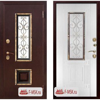 Входная металлическая дверь Феррони Венеция в цвете Медный антик / Белый ясень, стекло тонированное  Полотно 9,5 см, Металл 1.4 мм, Вес 87 кг (Товар № ZF104421)